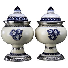 Blue and White Pair off Jars with Cherubs Motives, Ceramic and White Metal