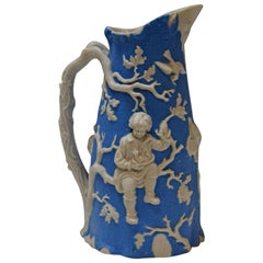 Blue and White Parian Ware Pitcher, circa 1850