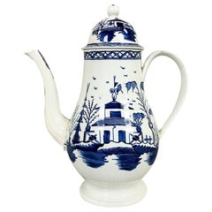 Blue and White Pearlware 18th century Coffeepot, 1785
