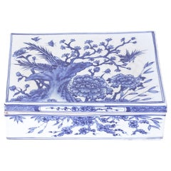 Blue and White Porcelain Box with Flowers