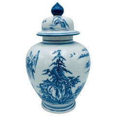 Blue and White Porcelain Chinoiserie Ginger Jar with Ornate Scene, 1970s