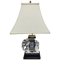 Blue and White Porcelain Elephant Table Lamp Pachyderm