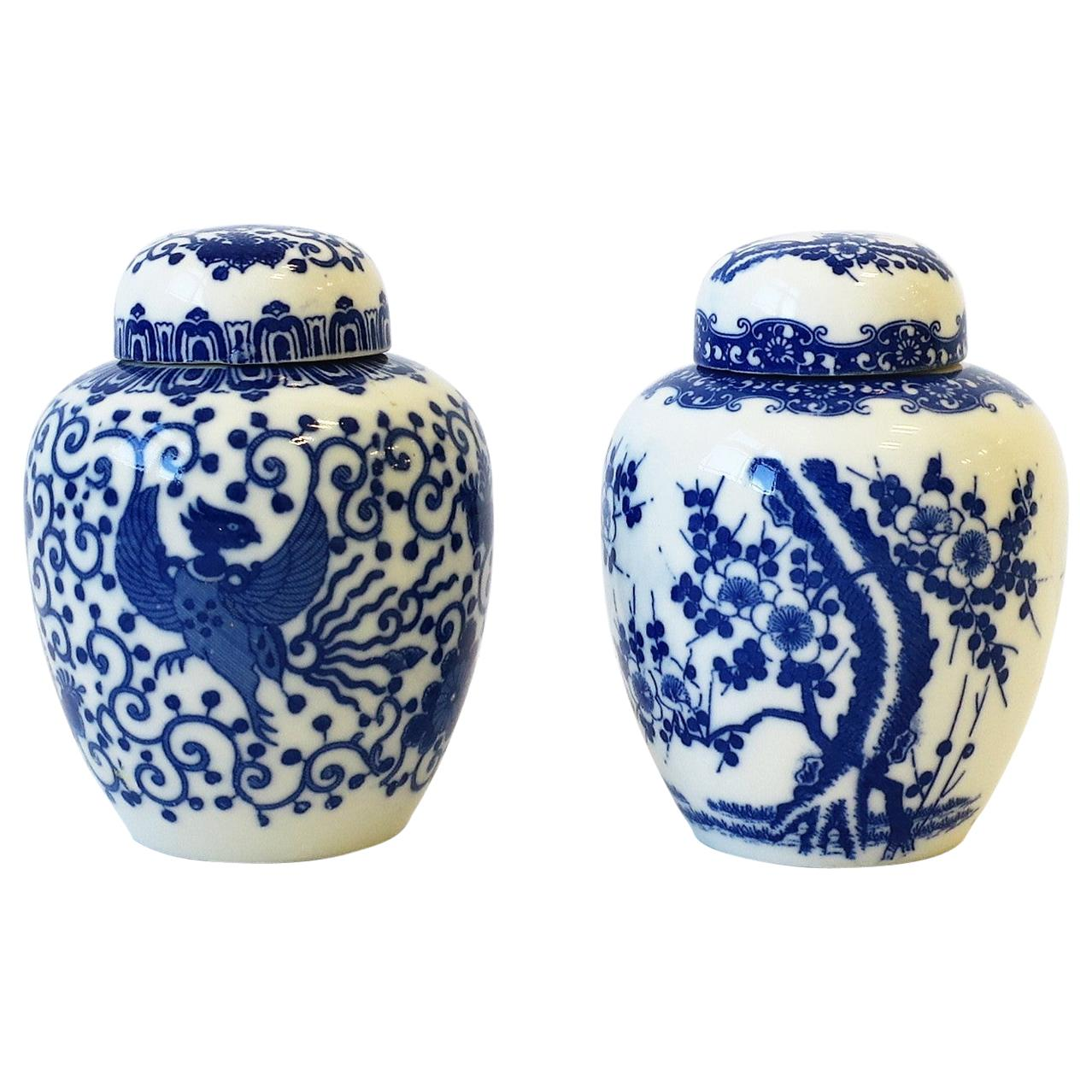 Blue and White Porcelain Japanese Ginger Jars, Pair