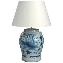 Blue and White Porcelain Vase Lamp Decorated with Fish and Seaweed