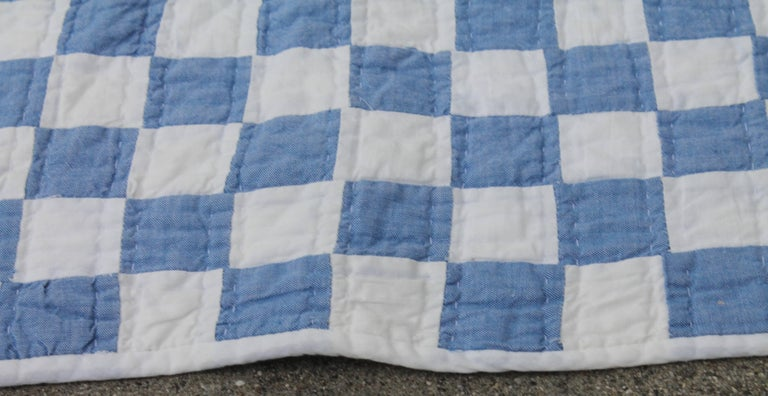 Blue and White Postage Stamp Quilt In Excellent Condition In Los Angeles, CA