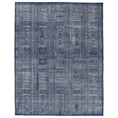 Blue and White Rug with Mosaic Pattern
