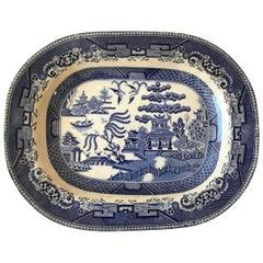 Blue and White Scenic Transferware Platter, Asian Motif, circa 1890
