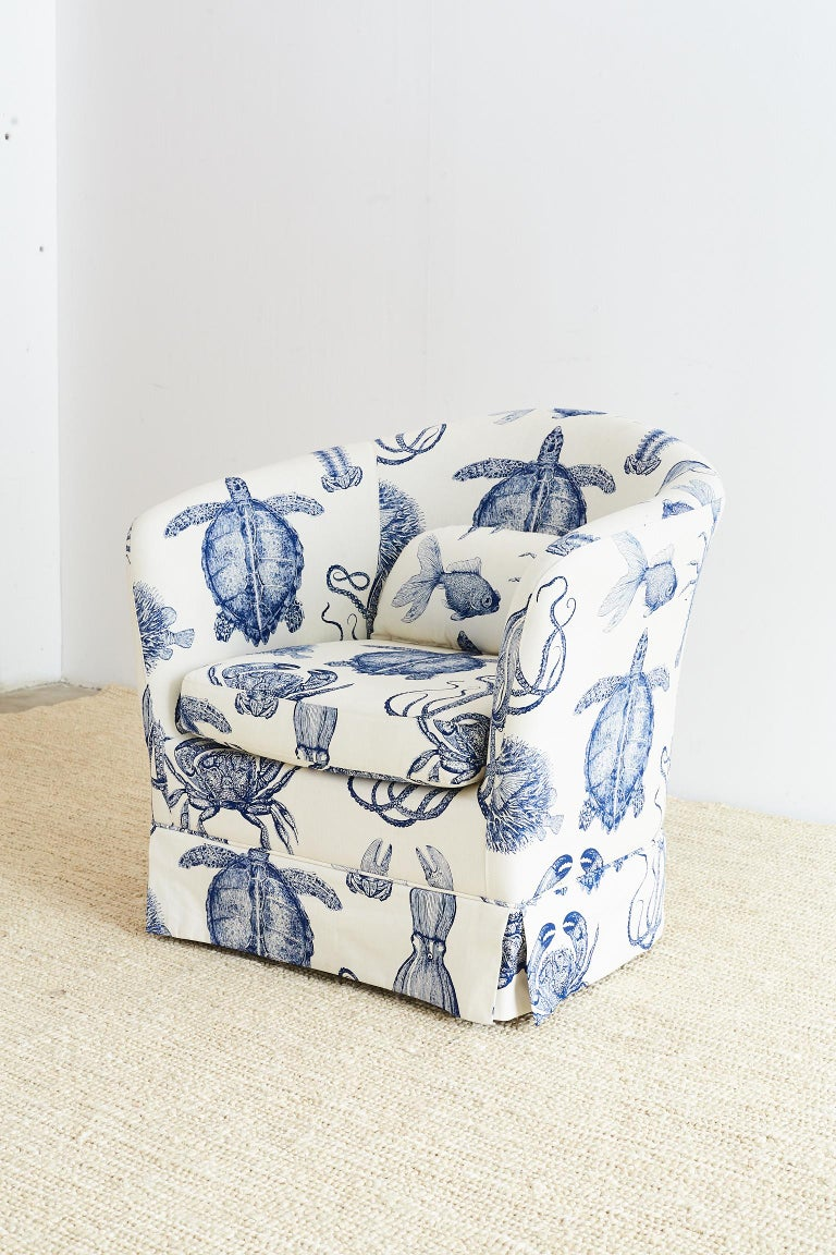 Blue And White Sea Life Nautical Club Chair For Sale At