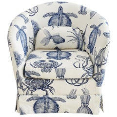 Blue and White Sea Life Nautical Club Chair