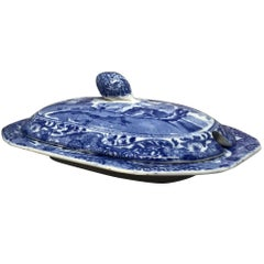 Blue and White Spode Covered Butter Dish
