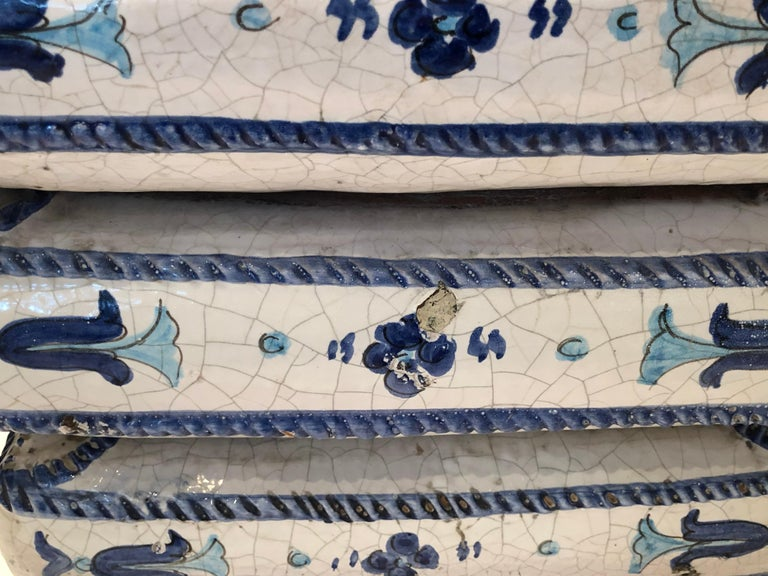 Italian Blue and White Stacked Pillow Motife Garden Seat End Table For Sale