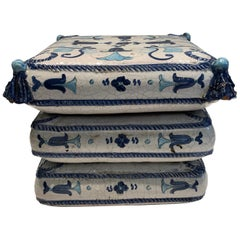 Blue and White Stacked Pillow Motife Garden Seat End Table