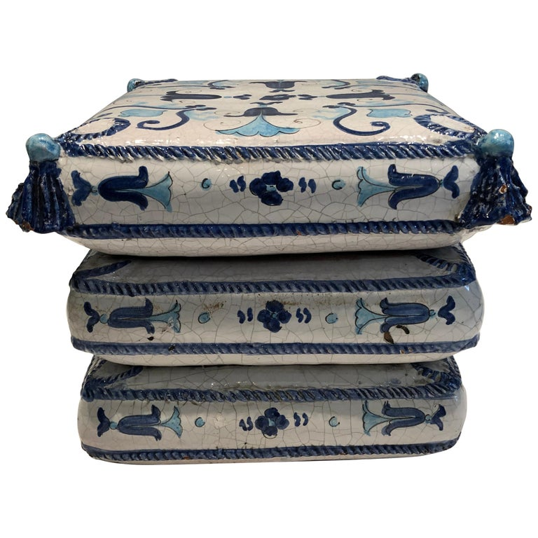 Blue and White Stacked Pillow Motife Garden Seat End Table For Sale