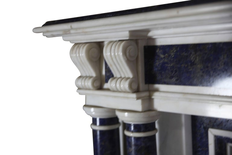 Other Blue and White Statuary Marble Antique Fireplace Surround For Sale
