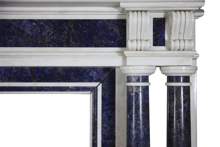 French Blue and White Statuary Marble Antique Fireplace Surround For Sale