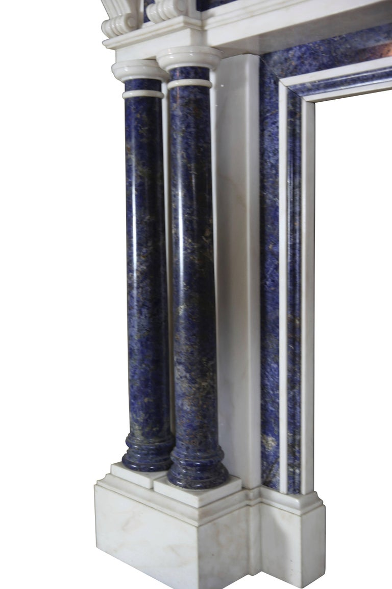 Polished Blue and White Statuary Marble Antique Fireplace Surround For Sale