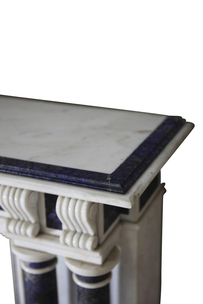 19th Century Blue and White Statuary Marble Antique Fireplace Surround For Sale