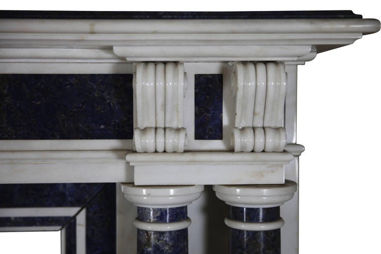 Blue and White Statuary Marble Antique Fireplace Surround For Sale 1