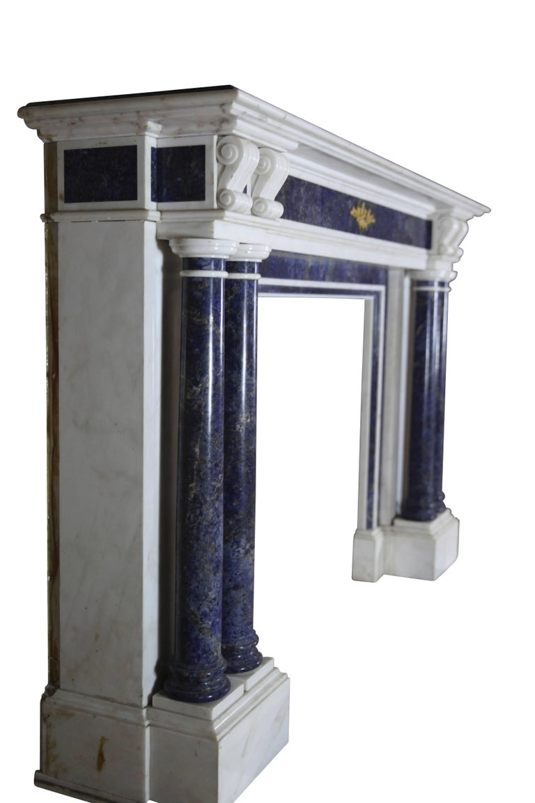 Blue and White Statuary Marble Antique Fireplace Surround For Sale 2