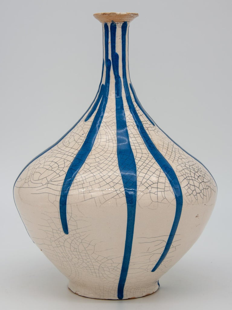 Blue and White Stripe Pottery Vase In Good Condition For Sale In South Salem, NY