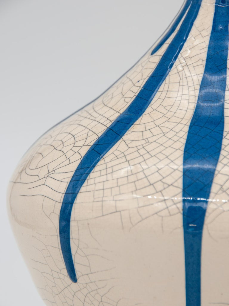 Blue and White Stripe Pottery Vase For Sale 1