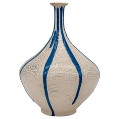 Blue and White Stripe Pottery Vase