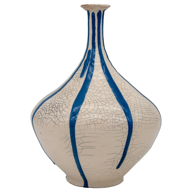Blue and White Stripe Pottery Vase For Sale