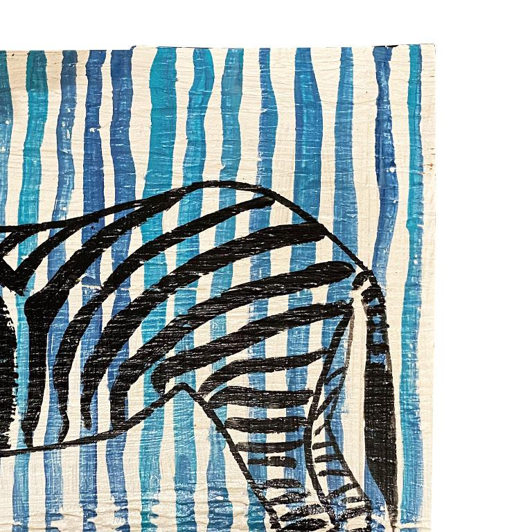 Folk Art Blue and White Stripe Zebra Painting on Wood For Sale