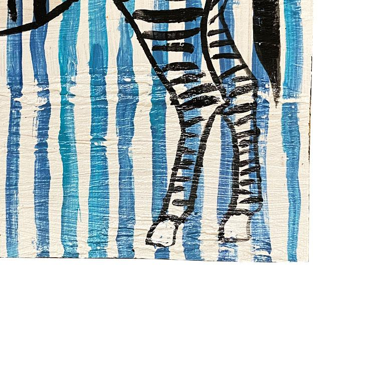 American Blue and White Stripe Zebra Painting on Wood For Sale