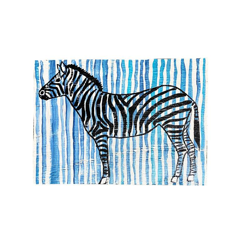 Contemporary Blue and White Stripe Zebra Painting on Wood For Sale