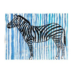 Blue and White Stripe Zebra Painting on Wood