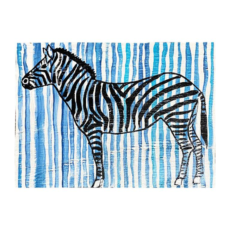 Blue and White Stripe Zebra Painting on Wood For Sale