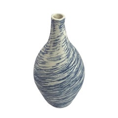 Blue and White Swirl Design Hand Made Squat Vase, Italy, Contemporary