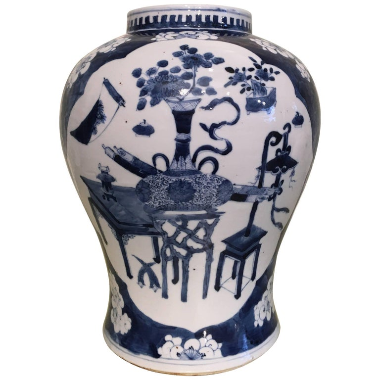 Blue and White Temple Jar For Sale