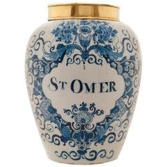 Blue and White Tobaccojar 'ST-OMER' in Dutch Delftware