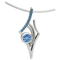 Blue and White Topaz Antares Star Pendant in Sterling Silver