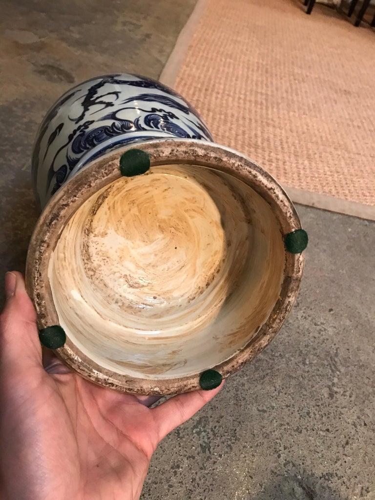 Ceramic Blue and White Vases Pair For Sale