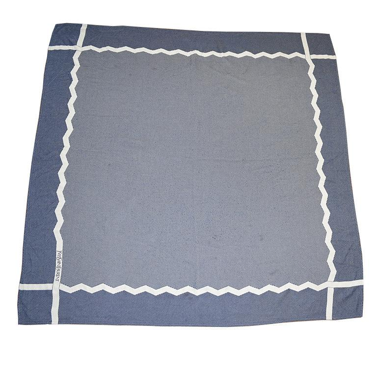 Blue and White YSL Yves Saint Laurent Woven Throw Blanket In Good Condition For Sale In Oklahoma City, OK