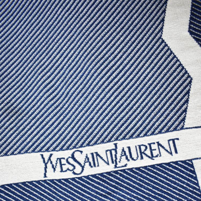 Blue and White YSL Yves Saint Laurent Woven Throw Blanket For Sale 1