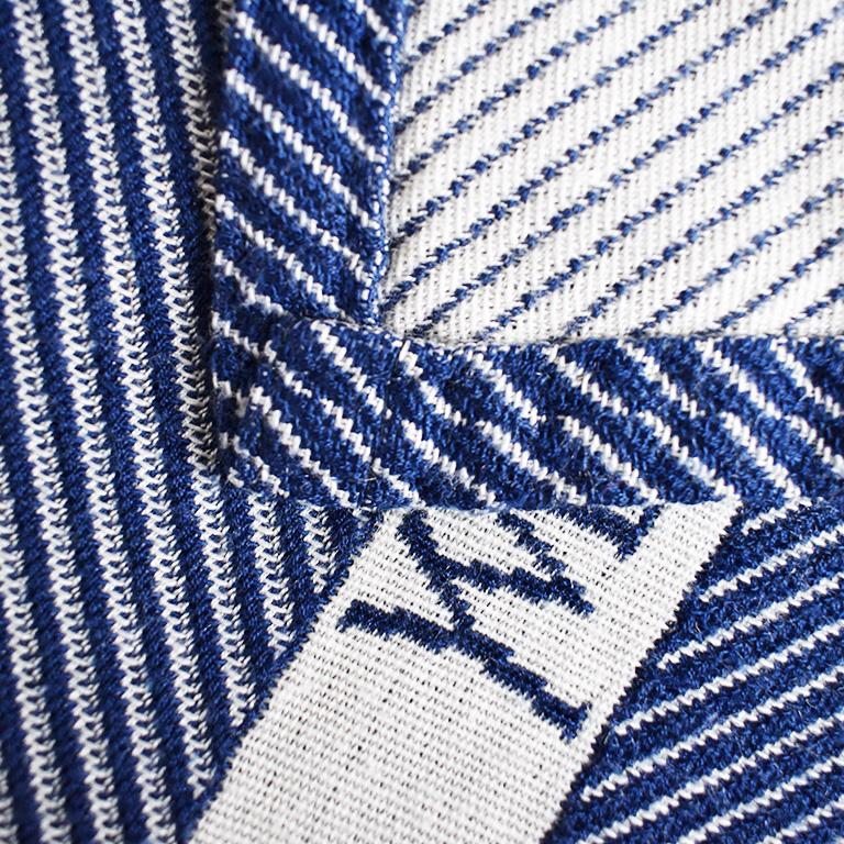 Blue and White YSL Yves Saint Laurent Woven Throw Blanket For Sale 3