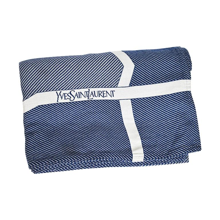 Blue and White YSL Yves Saint Laurent Woven Throw Blanket For Sale