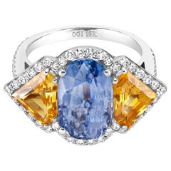 OGI Ceylon Sapphire Diamond Eighteen Karat White Gold Cocktail Cluster Ring