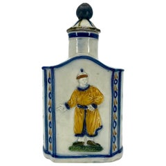 Blue and Yellow Chinoiserie Tea Caddy