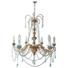 Blue and Yellow Genovese Wood Crystal  Chandelier, circa 1900