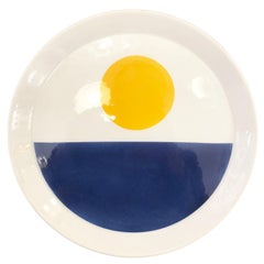 Blue and Yellow Gio Ponti Plate for Ceramiche Franco Pozzi