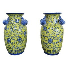 Blue and Yellow Glazed Chinese Vases, Pair
