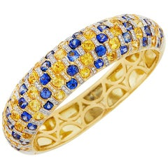 Blue and Yellow Sapphire Diamond Bracelet