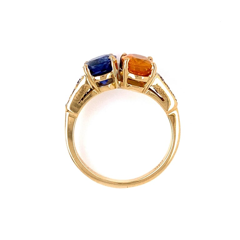 Mixed Cut Blue and Yellow Sapphire Diamond Toi et Moi Gold Bypass Ring Estate Fine Jewelry For Sale