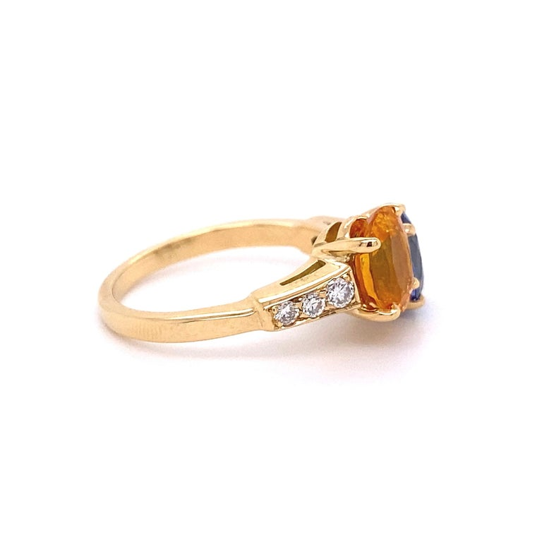 Women's Blue and Yellow Sapphire Diamond Toi et Moi Gold Bypass Ring Estate Fine Jewelry For Sale