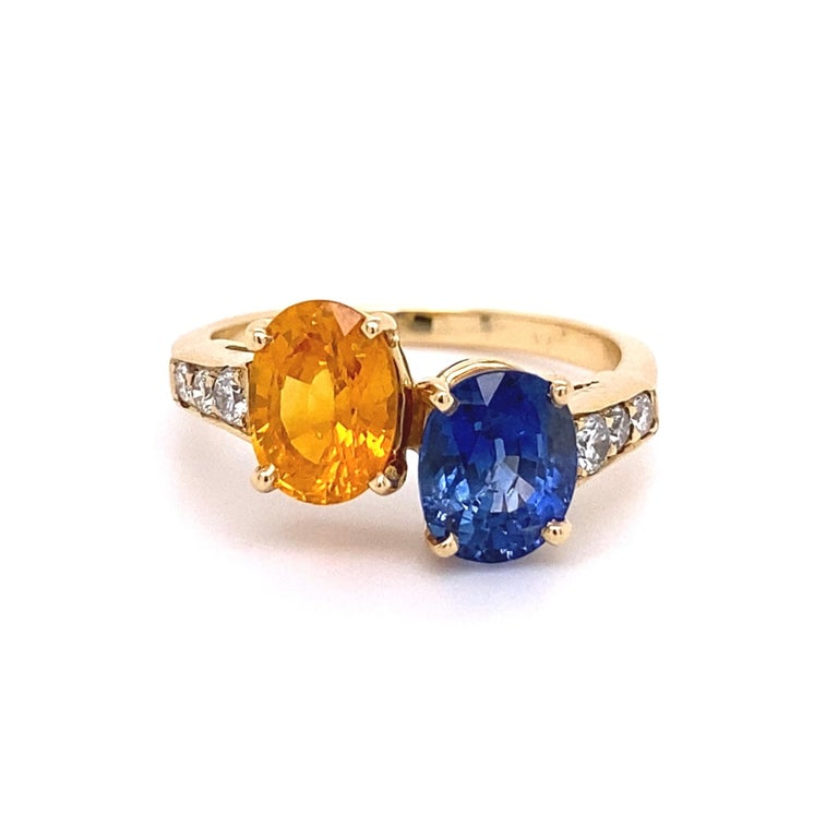 Blue and Yellow Sapphire Diamond Toi et Moi Gold Bypass Ring Estate Fine Jewelry For Sale 1